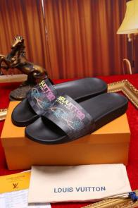 louis vuitton slippers cheap printing coconut tree black